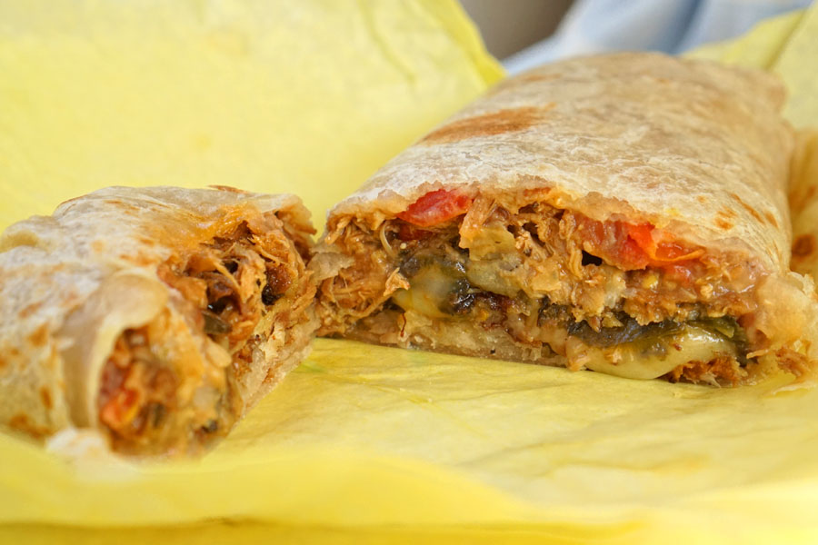 Chile Relleno Burrito + 1 Choice of Meat - Carnitas (Cut Open)