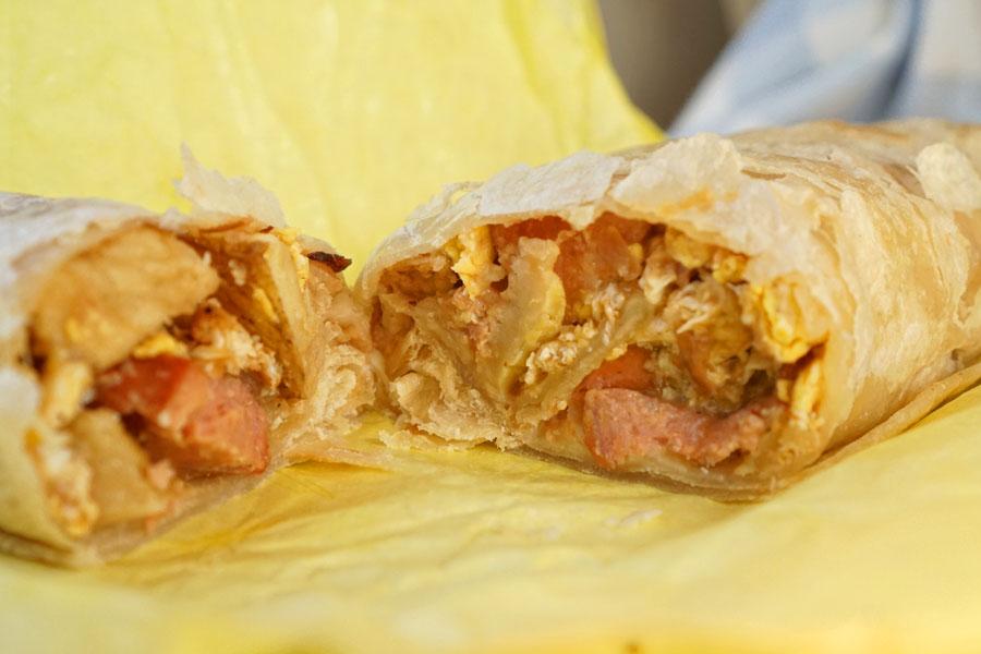 Sausage, Potato, and Egg Breakfast Burrito (Cut Open)