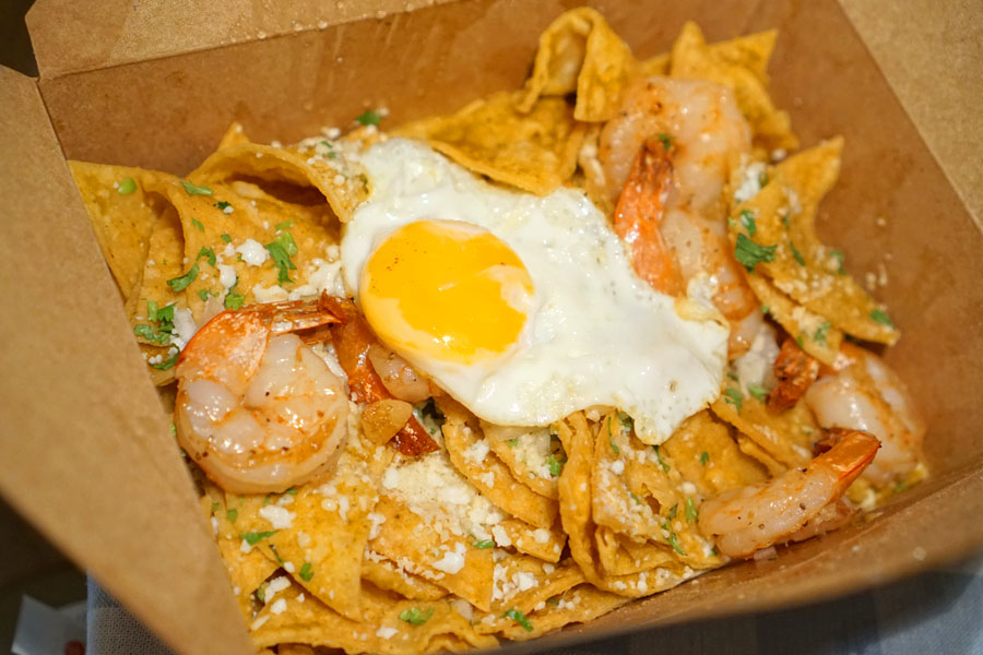 Chilaquiles + shrimp