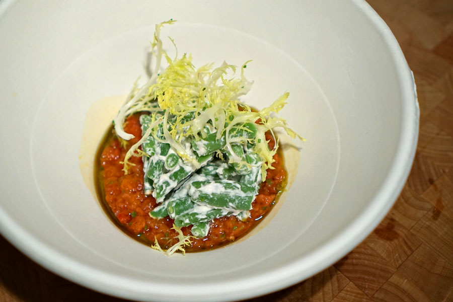 Salad of Haricot Verts, Tomato Tartare, and Chive Oil