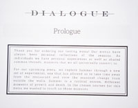 Dialogue Takeout Tasting Menu Card: Prologue