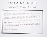 Dialogue Takeout Tasting Menu Card: Course 6