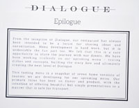 Dialogue Takeout Tasting Menu Card: Epilogue
