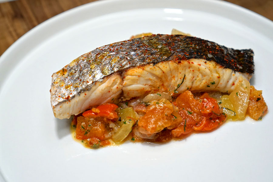 Striped Bass a la Piperrada (Plated without Garnishes)
