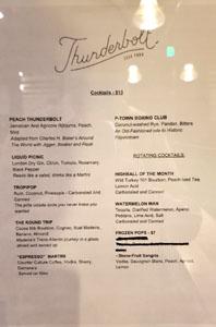 Thunderbolt Cocktail List