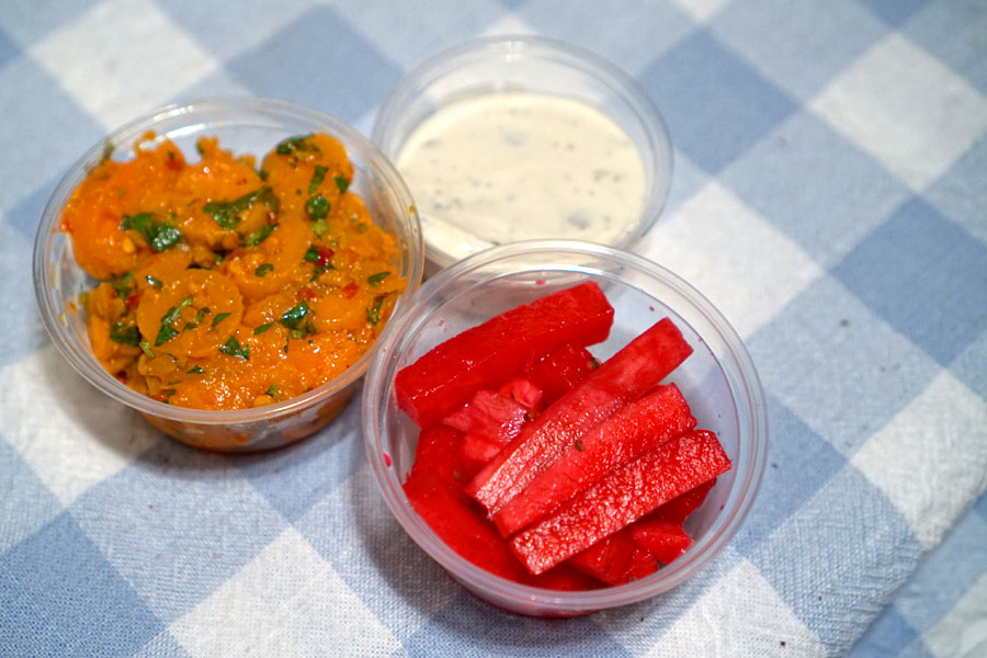 Moroccan Carrot Salad, Vegan Garlic Sauce, Pickled Turnips