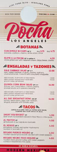 Pocha Menu: Botanas, Ensaladas y Tazones, Tacos