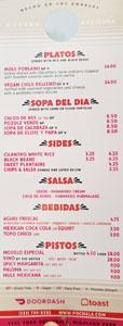 Pocha Menu: Platos, Sopa del Dia, Sides, Salsa, Bebidas, Pistos