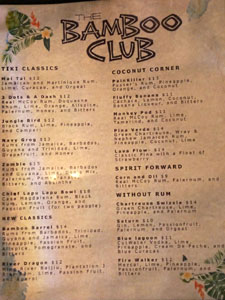 The Bamboo Club Cocktail List