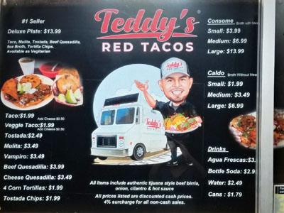 Teddy's Red Tacos Menu