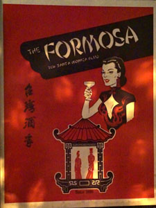 Formosa Cafe Menu Cover