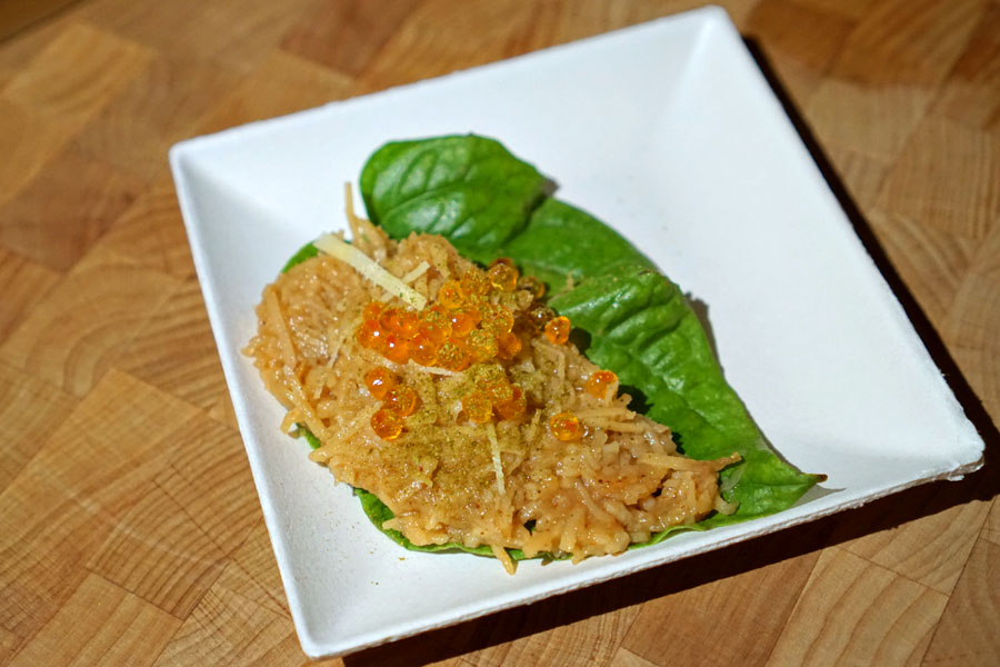 Betel Leaf with Tamarind Braised Coconut, Lime Leaf, Smoked Trout Roe