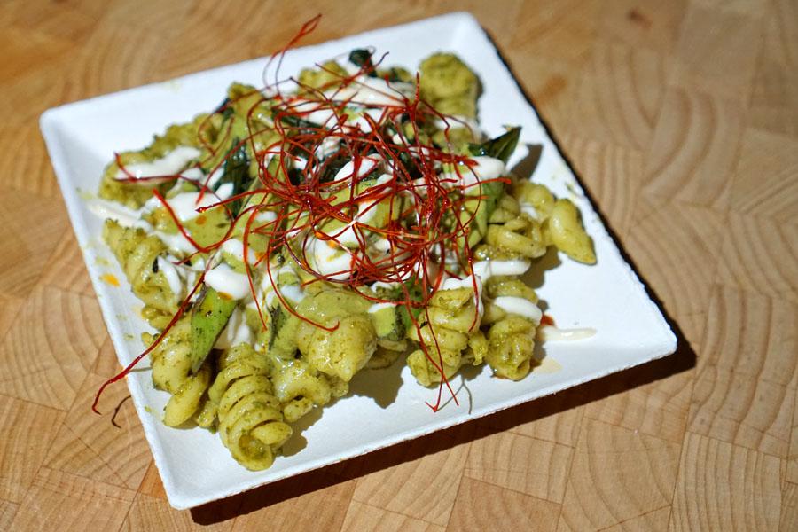 Thai Pasta Salad: Thai Basil Pesto, Grilled Gai Lan, Silken Tofu, Chile Oil (Vegan)