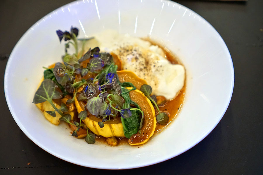 honey roasted Delicata squash, burrata cheese, pistachios, sherry vinaigrette