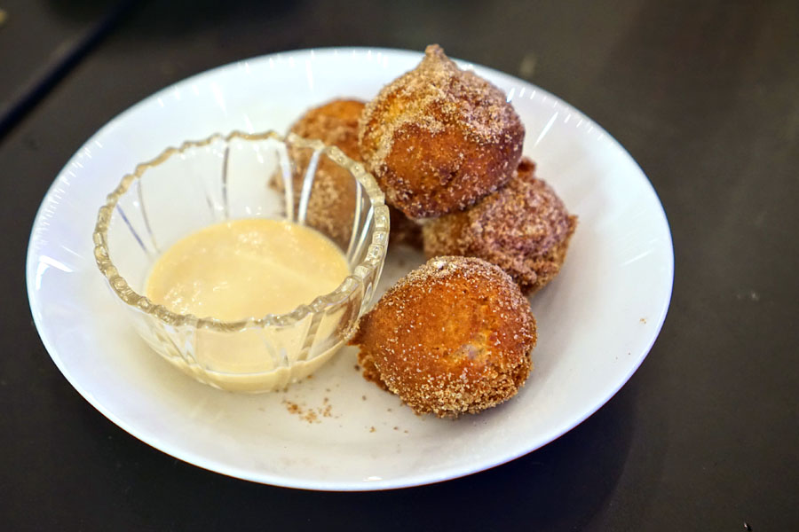 apple cider donuts with caramel pot de créme