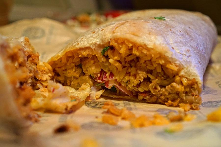 Pollo Asada Burrito (Cut Open)
