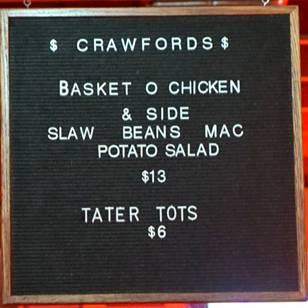 Crawfords Menu
