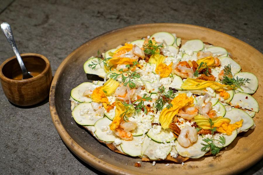 Tlayuda, blue shrimp, queso fresco, zucchini