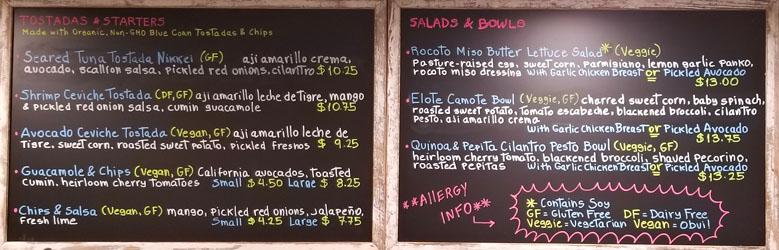 Little Llama Menu: Tostadas & Starters, Salads & Bowls