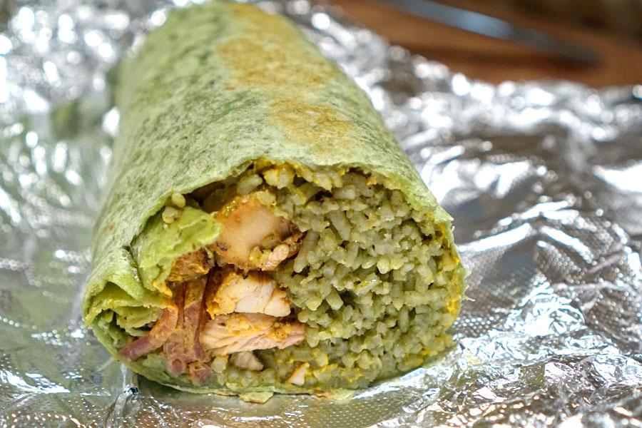Arroz con Pollo Burrito (Cut Open)