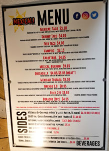 Mexicali Taco & Co Menu