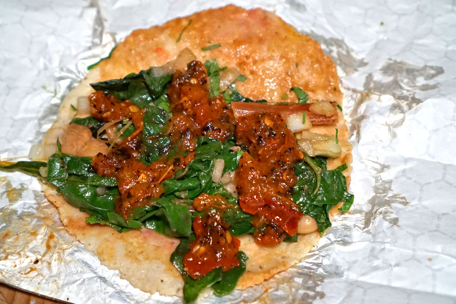 Alubia & Swiss Chard Taco (With Salsa)