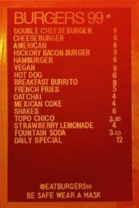 Burgers 99 Menu