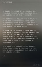 Vespertine Alinea Menu: Introduction