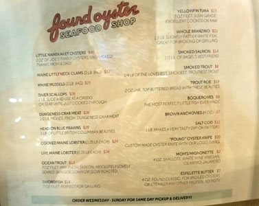 Found Oyster Seafood Shop Menu