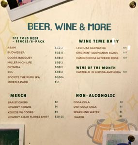 Lowboy Beer & Wine List
