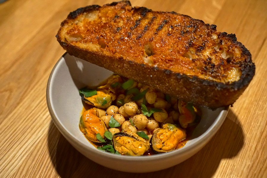 Mussels Escabeche with chickpeas and 'nduja toast
