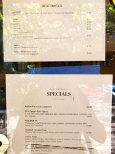 Angry Egret Dinette Beverage List & Specials Menu