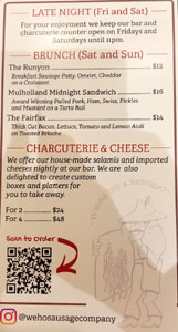 The WeHo Sausage Co Menu: Late Night, Brunch, Charcuterie & Cheese