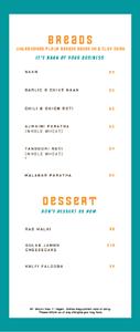 Miirch Social Menu: Breads, Dessert