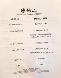 Momoyama Menu