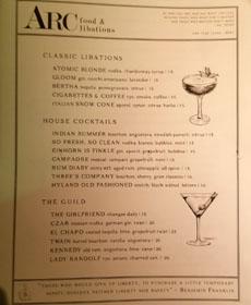 The Guild Club Cocktail List