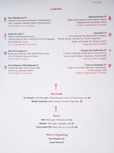 Seven Reasons Cocktail & Beer List