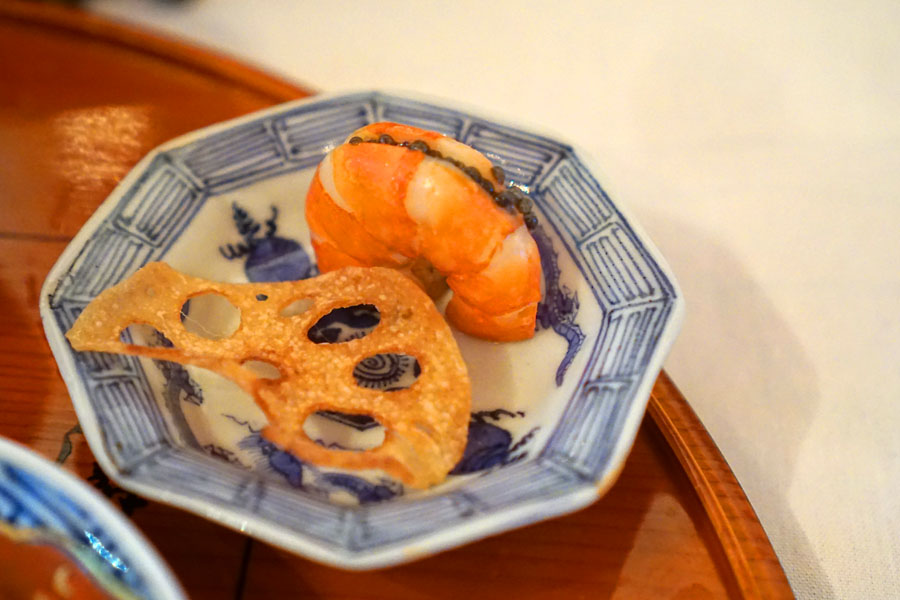 Umani Shrimp and Fried Lotus Root with Caviar on Top