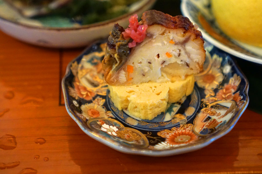 Dashi-maki Tamago (Japanese-style egg omelet) and Grilled Freshwater Eel over Fish Cake