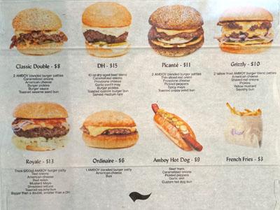 Amboy Quality Meats & Delicious Burgers Menu