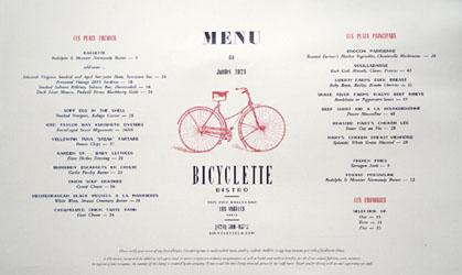 Bicyclette Bistro Menu