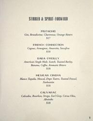Bicyclette Bistro Cocktail List: Stirred & Spirit-Forward