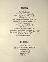 Bicyclette Bistro Spirits List: Bourbon / Rye Whiskey