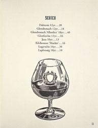 Bicyclette Bistro Spirits List: Scotch