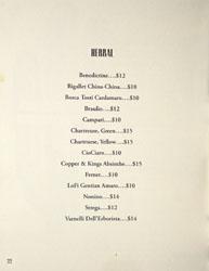 Bicyclette Bistro Spirits List: Herbal