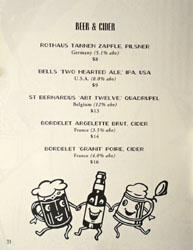 Bicyclette Bistro Beer & Cider List