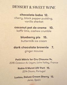 Vernick Food & Drink Dessert Menu