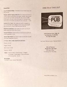 The Pub at Fiddler's Green Menu: Favorites, Beverages