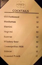 Cole's Cocktail List