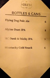 Cole's Bottled/Canned Beer List